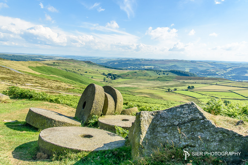 Millstones close to Stanage Edge in Derbyshire
