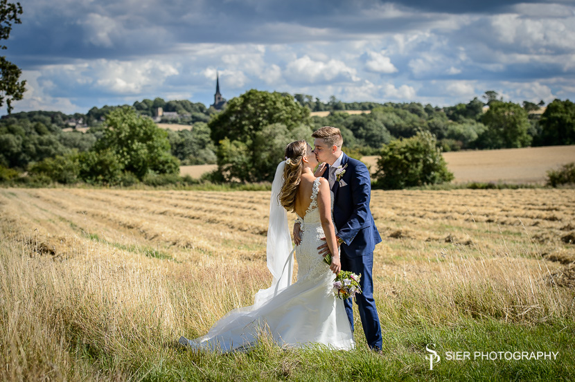 Bride and Groom on the outskirts of Wentworth Village following their Wedding at Holy Trinity Church in the village